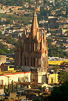 Steeple of the Parroquia de San Miguel Acangel parish church from above,  San Miguel de Allende, Mexico. San Miguel de Allende is a UNESCO World Heritage Site....