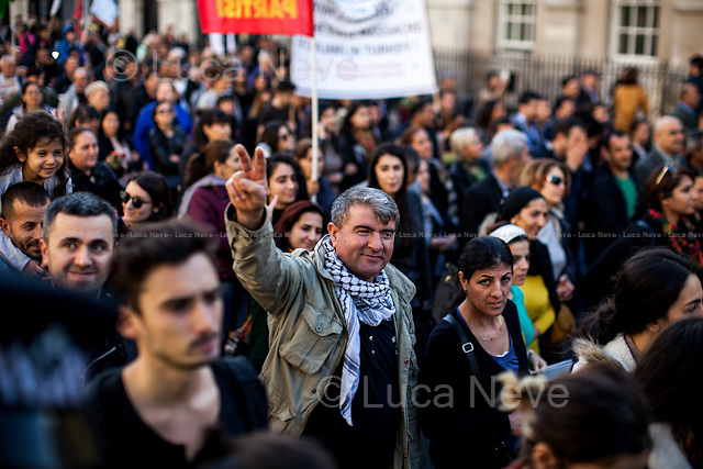 London, 11/10/2015. Today, several thousand Turkish and Kurdish people united held a demonstration outside N.10 Downing Street, and subsequently marched to the BBC HQ in Portland place. The demonstration was called against the bombing attack at a peace protest in Ankara on the 10 October 2015 were more than 100 innocent people were killed and more than 500 people were seriously injured. From the organiser Facebook page: &lt;&lt;[&hellip;] We demand peace. We are gathering in London for a solidarity protest with those killed and those who stand for peace in Turkey. End state terror now! Unite against State terror!&gt;&gt;.<br />