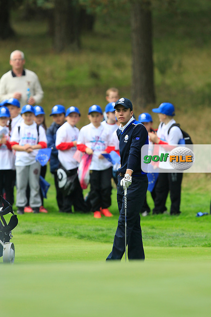 Ivan Cantero Gutierrez (ESP) on the 2nd green of the Mixed Fourballs, puts to go two up during the 2014 JUNIOR RYDER CUP at the Blairgowrie Golf Club, Perthshire, Scotland. <br /> Picture:  Thos Caffrey / www.golffile.ie