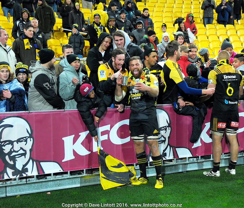 Callum Gibbins mingles with fans after the Super Rugby final match between the Hurricanes and Lions at Westpac Stadium, Wellington, New Zealand on Saturday, 6 August 2016. Photo: Dave Lintott / lintottphoto.co.nz
