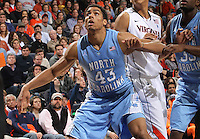 North Carolina Tar Heels forward James Michael McAdoo (43) looks for the rebound during the game against Virginia in Charlottesville, Va. North Carolina defeated Virginia 54-51.
