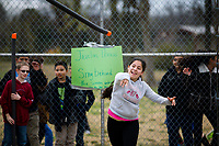 NWA Democrat-Gazette/JASON IVESTER<br /> Daisy Perea, Kirksey Middle School sixth-grader, sends her &quot;javelin&quot; through the air Thursday, March 16, 2017, during Greek Day at the Rogers school. Sixth-graders have been studying ancient Greece in their World History class and competed in both athletic and intellectual competitions during the day in the Kirksey Olympics. Gold, silver and bronze awards will be handed out today (FRIDAY) from the events.