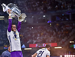 Gareth Bale of Real Madrid lifts the Champions League Trophy during the UEFA Champions League Final match between Real Madrid and Juventus at the National Stadium of Wales, Cardiff, Wales on 3 June 2017. Photo by Giuseppe Maffia.<br /> <br /> Giuseppe Maffia/UK Sports Pics Ltd/Alterphotos