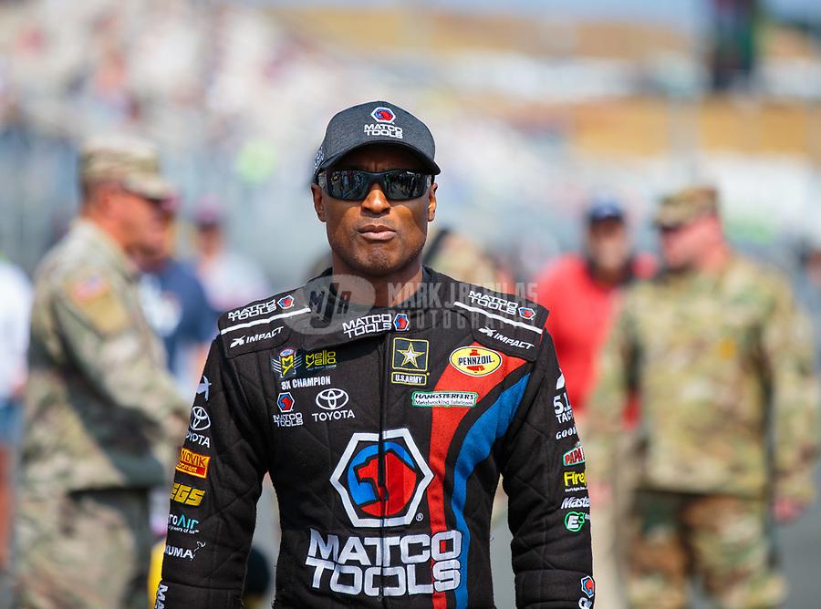 Jul 29, 2018; Sonoma, CA, USA; NHRA top fuel driver Antron Brown during the Sonoma Nationals at Sonoma Raceway. Mandatory Credit: Mark J. Rebilas-USA TODAY Sports