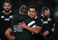 Anton Lienert-Brown celebrates winning the Bledisloe Cup rugby match between the New Zealand All Blacks and Australia Wallabies at Eden Park in Auckland, New Zealand on Saturday, 17 August 2019. Photo: Simon Watts / lintottphoto.co.nz
