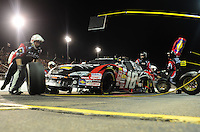 Apr 17, 2009; Avondale, AZ, USA; NASCAR Nationwide Series driver Kyle Busch pits during the Bashas Supermarkets 200 at Phoenix International Raceway. Mandatory Credit: Mark J. Rebilas-