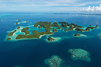 Aerial Photography over Palau Micronesia including the Rock Islands, the Reef and the 70 Islands