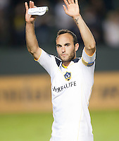 CARSON, CA – NOVEMBER 7:  LA Galaxy midfielder Landon Donovan (10) celebrates after a playoff soccer match at the Home Depot Center, November 7, 2010 in Carson, California. Final score LA Galaxy 2, Seattle Sounders 1.
