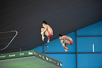 China's Hao Yang and Junjie Lian compete in the Men's 10m Synchro Platform<br /> <br /> Photographer Hannah Fountain/CameraSport<br /> <br /> FINA/CNSG Diving World Series 2019 - Day 1 - Friday 17th May 2019 - London Aquatics Centre - Queen Elizabeth Olympic Park - London<br /> <br /> World Copyright © 2019 CameraSport. All rights reserved. 43 Linden Ave. Countesthorpe. Leicester. England. LE8 5PG - Tel: +44 (0) 116 277 4147 - admin@camerasport.com - www.camerasport.com