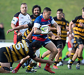 Whairoa Rangiwai looks to break through the midfield for Ardmore Marist. Counties Manukau Premier 1 McNamara Cup Final between Ardmore Marist and Bombay, played at Navigation Homes Stadium on Saturday July 20th 2019.<br />  Bombay won the McNamara Cup for the 5th time in 6 years, 33 - 18 after leading 14 - 10 at halftime.<br /> Photo by Richard Spranger.