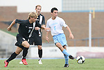 31 August 2008: UNC's Michael Callahan (5) and VCU's David Rosenbaum (9). The University of North Carolina Tar Heels defeated the Virginia Commonwealth University Rams 1-0 in overtime at Fetzer Field in Chapel Hill, North Carolina in an NCAA Division I Men's college soccer game.