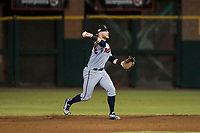 Salt River Rafters second baseman Travis Blankenhorn (5), of the Minnesota Twins organization, throws to first base during an Arizona Fall League game against the Scottsdale Scorpions at Scottsdale Stadium on October 12, 2018 in Scottsdale, Arizona. Scottsdale defeated Salt River 6-2. (Zachary Lucy/Four Seam Images)