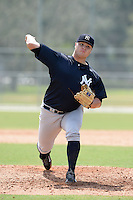 New York Yankees pitcher Cale Coshow (80) during an Instructional League game against the Pittsburgh Pirates on September 18, 2014 at the Pirate City in Bradenton, Florida.  (Mike Janes/Four Seam Images)
