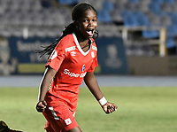 CALI - COLOMBIA, 30-08-2019: Linda Caicedo del América celebra el segundo gol de su equipo anotado por de Catalina Usme de América durante partido por los cuartos de final vuelta de la Liga Femenina Aguila 2019 entre América de Cali y Atlético Nacional jugado en el estadio Pascual Guerrero de la ciudad de Cali. / Linda Caicedo of Nacional celebrates the second goal of his team scored by Catalina Usme during second leg match for the quaterfinals as part of Aguila Women League 2019 between America de Cali and Atletico Nacional played at Pascual Guerrero stadium in Cali. Photo: VizzorImage / Gabriel Aponte / Staff