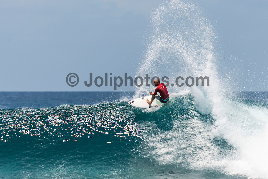 Four Seasons,Kuda Huraa, Maldives (Friday, August 7, 2015) Shane Dorian (HAW). The worlds 'most luxurious surfing event,' the Four Seasons Maldives Surfing Champions Trophy continued today  at the famed 'Sultans Point' with the Thruster Round.The swell was out of the South East  with waves in the 4'-6' range.  Neco Padaratz (BRA) and Shane Dorian (HAW) fought out the tough final with Dorian scoring a perfect 10 point ride for a deep barrel and the win.  Photo: joliphotos.com