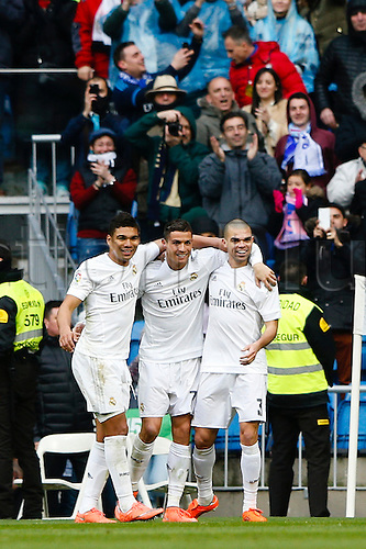 05.03.2016.  Madrid, Spain.  Cristiano Ronaldo dos Santos (7) Real Madrid celebrates after scoring his team´s goal for 5-1. La Liga between Real Madrid versus Celta de Vigo at the Santiago Bernabeu stadium in Madrid, Spain