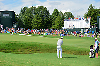 Zach Johnson (USA) chips on to 18 during Sunday's final round of the PGA Championship at the Quail Hollow Club in Charlotte, North Carolina. 8/13/2017.<br /> Picture: Golffile | Ken Murray<br /> <br /> <br /> All photo usage must carry mandatory copyright credit (&copy; Golffile | Ken Murray)