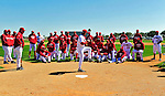 28 February 2010: Washington Nationals Manager Jim Riggleman addresses the pitching staff about base running situations during Spring Training at the Carl Barger Baseball Complex in Viera, Florida. Mandatory Credit: Ed Wolfstein Photo