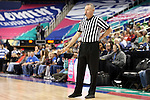 04 March 2016: Referee Bryan Brunette. The Duke University Blue Devils played the University of University of Notre Dame Fighting Irish at the Greensboro Coliseum in Greensboro, North Carolina in an Atlantic Coast Conference Women's Basketball Tournament Quarterfinal and a 2015-16 NCAA Division I Women's Basketball game. Notre Dame won the game 83-54.