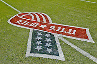 Sept 11, 2011:   Commemorative ribbon on the field at the game between the Jacksonville Jaguars and the Tennessee Titans at EverBank Field in Jacksonville, Florida.   ........