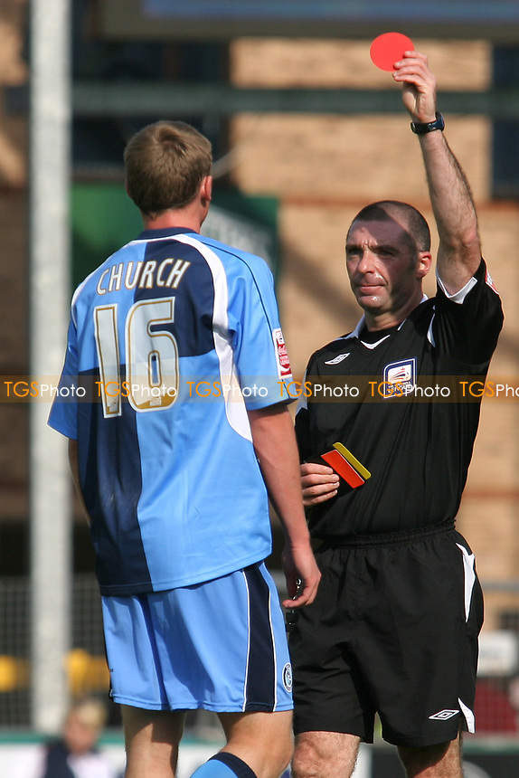 Referee Pat Miller shows Simon Church of Wycombe Wanderers a red disc and he is sent off during Wycombe Wanderers vs Dagenham & Redbridge, Coca Cola League Division Two Football at Adams Park on 20th September 2008