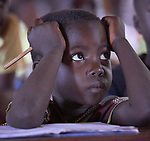 A boy pays attention during class in the Catholic Church-sponsored St. Mary's Primary School in Yambio, South Sudan.