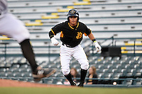 Bradenton Marauders second baseman Ashley Ponce (7) leads off first during a game against the Jupiter Hammerheads on April 19, 2014 at McKechnie Field in Bradenton, Florida.  Bradenton defeated Jupiter 4-0.  (Mike Janes/Four Seam Images)