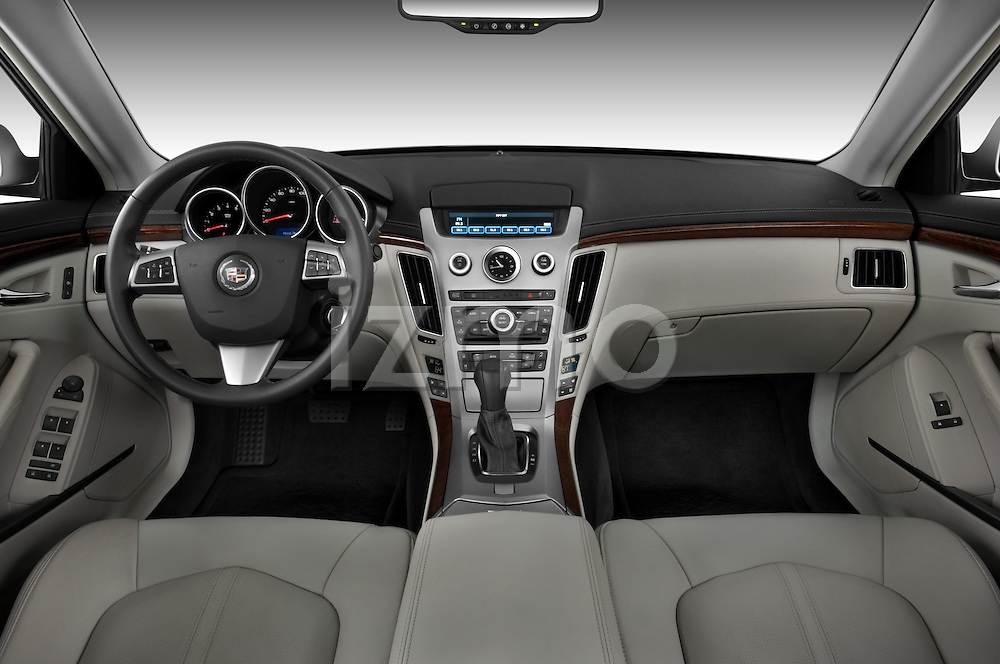 Straight dashboard view of a 2008 Cadillac CTS sedan.