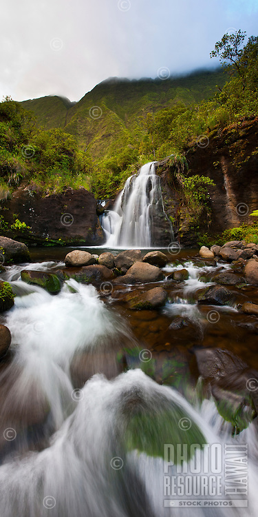 A waterfall in the Wai'ale'ale wilderness, deep within the heart of Kaua'i.