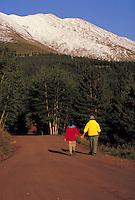 Marge (MR451) & Bill Precise (MR452) walking, Boreas Pass Road, Summit County, CO. Marge & Bill Precise (MR451 & 452). Summit County, Colorado.