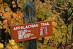 Appalachian Trail sign in Sandy River Plantation, Maine, USA