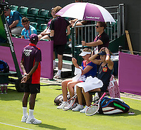 Ekaterina Makarova & Elena Vesnina - Russia..Tennis - OLympic Games -Olympic Tennis -  London 2012 -  Wimbledon - AELTC - The All England Club - London - Saturday 28th June  2012. .© AMN Images, 30, Cleveland Street, London, W1T 4JD.Tel - +44 20 7907 6387.mfrey@advantagemedianet.com.www.amnimages.photoshelter.com.www.advantagemedianet.com.www.tennishead.net