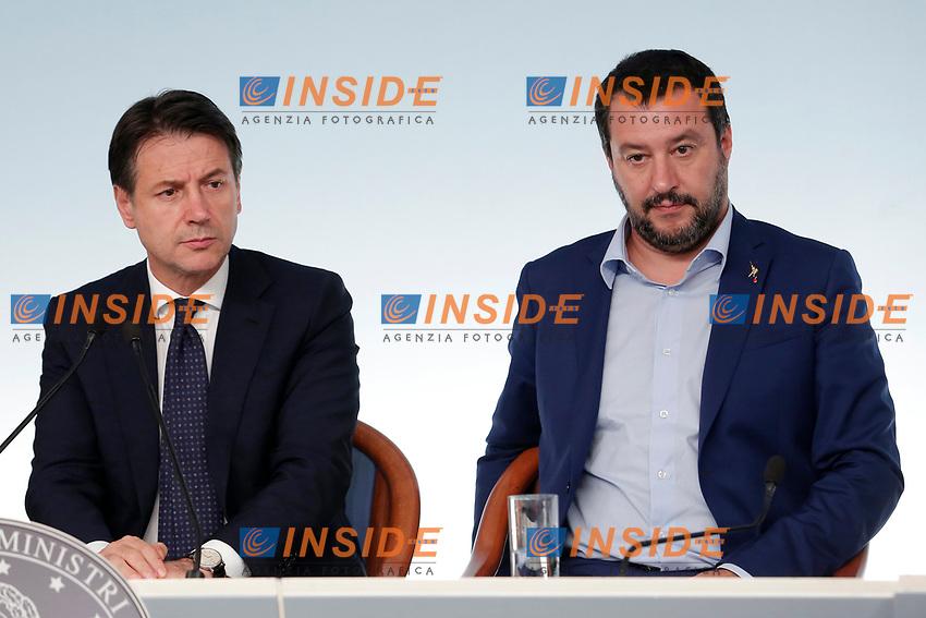 Giuseppe Conte, Matteo Salvini <br /> Roma 15/10/2018. Consiglio dei Ministri sulla Manovra Economica DEF.<br /> Rome October 15th 2018. Minister's Cabinet about the Economic and Financial Document.<br /> Foto Samantha Zucchi Insidefoto