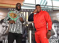 LOS ANGELES - SEPTEMBER 28: (L-R) Deontay Wilder and Luis Ortiz during a Los Angeles press conference for the November 23, 2019 Fox Sports PBC Pay-Per-View fight night at the MGM Grand in Las Vegas. (Photo by Frank Micelotta/Fox Sports/PictureGroup)