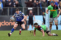 Freddie Burns of Bath Rugby in possession. Gallagher Premiership match, between Bath Rugby and Harlequins on March 2, 2019 at the Recreation Ground in Bath, England. Photo by: Patrick Khachfe / Onside Images