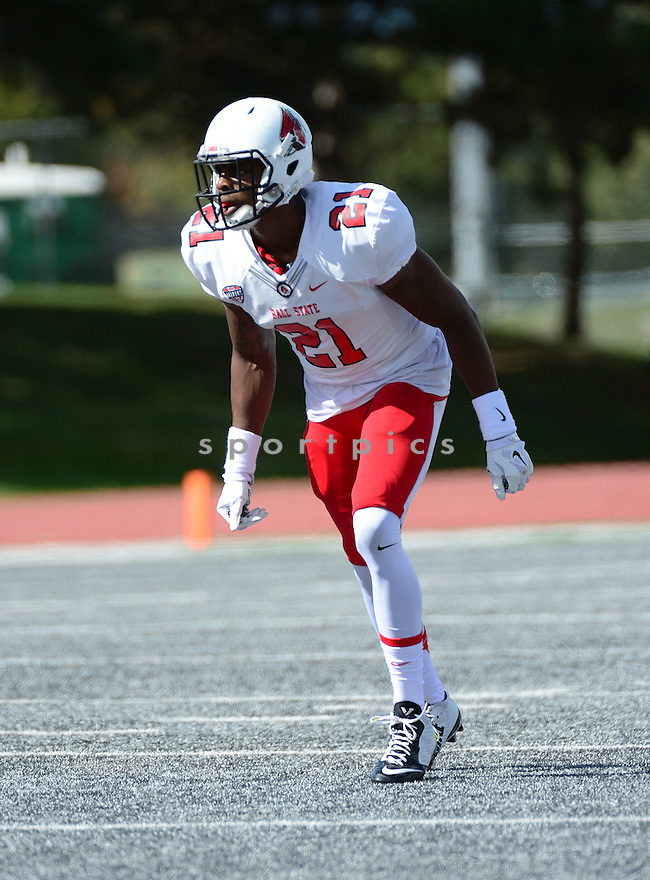 Ball State Cardinals Martez Hester (21) during a game against the Eastern Michigan Eagles on September 19, 2015 at Rynearson Stadium in Ypsilanti, MI. Ball State beat Eastern Michigan 28-17.