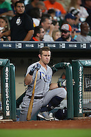 HOUSTON, TX - AUGUST 28:  Evan Longoria #3 of the Tampa Bay Rays waits on the dugout steps for his next at bat against the Houston Astros during the game at Minute Maid Park on Sunday, August 28, 2016 in Houston, Texas. Photo by Brad Mangin