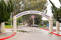 Prop sign and arch at the entrance to Bird Road, used in the filming of NCIS, Dec. 16, 2014. (Photo by Marc Campos, Occidental College Photographer)
