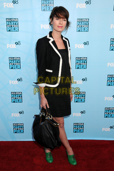 LENA HEADEY.FOX All-Star Party 2008 at the Santa Monica Pier, Santa Monica, California, USA..July 14th, 2008.full length black white trim jacket skirt bag purse green ankle shoes boots .CAP/ADM/BP.©Byron Purvis/AdMedia/Capital Pictures.