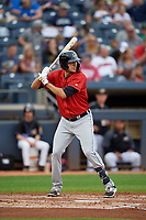 Erie SeaWolves Daniel Pinero (34) at bat during an Eastern League game against the Akron RubberDucks on August 30, 2019 at Canal Park in Akron, Ohio.  Erie defeated Akron 3-2.  (Mike Janes/Four Seam Images)