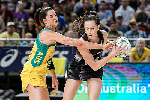 09.10.2016. Qudos Bank Arena, Sydney, Australia. Constellation Cup Netball. Australia Diamonds versus New Zealand Silver Ferns. Australias Sharni Layton challenges New Zealands Bailey Mes. The Diamonds won the game 68-56.