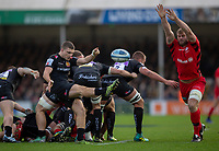 Exeter Chiefs' Jack Maunder clears the ba;;<br /> <br /> Photographer Bob Bradford/CameraSport<br /> <br /> Gallagher Premiership Round 10 - Exeter Chiefs v Saracens - Saturday 22nd December 2018 - Sandy Park - Exeter<br /> <br /> World Copyright © 2018 CameraSport. All rights reserved. 43 Linden Ave. Countesthorpe. Leicester. England. LE8 5PG - Tel: +44 (0) 116 277 4147 - admin@camerasport.com - www.camerasport.com