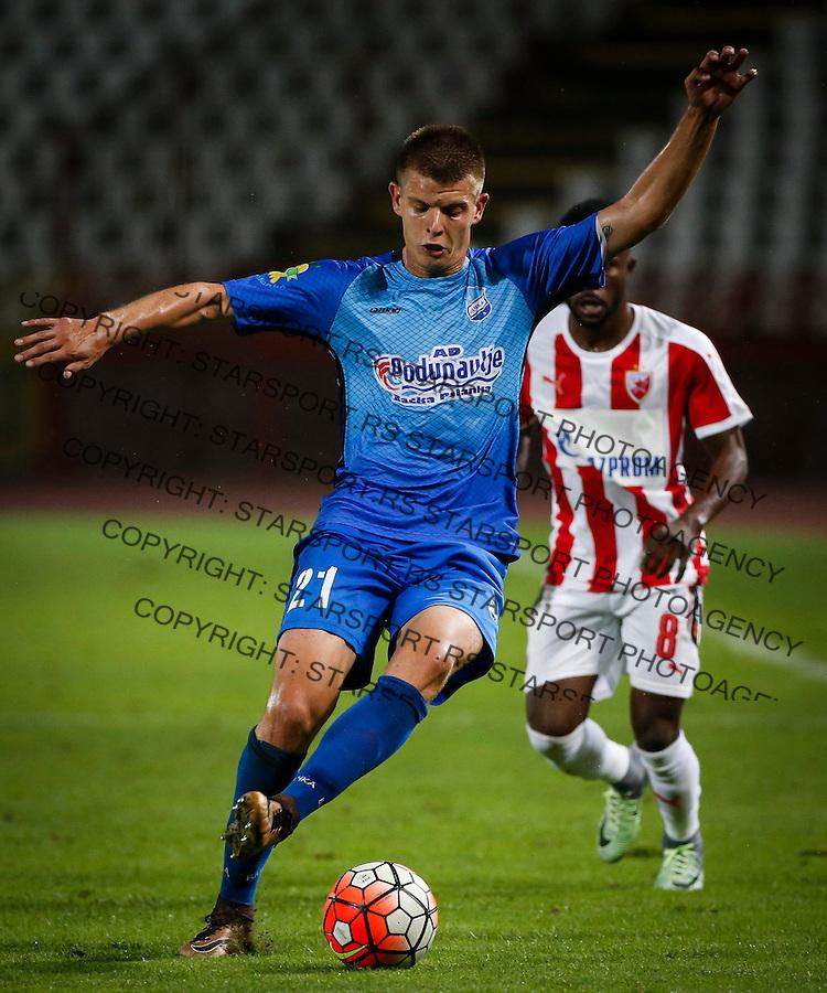 Fudbal Super League season 2016-2017<br /> Crvena Zvezda v OFK Backa<br /> Zoran Svonja (L) and Guelor Kanga<br /> Beograd, 10.09.2016.<br /> foto: Srdjan Stevanovic/Starsportphoto&copy;