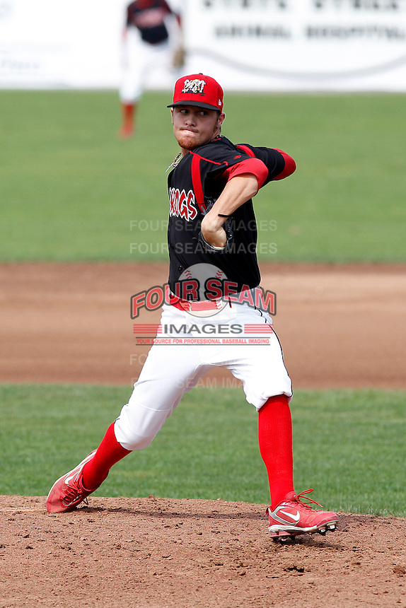Batavia Muckdogs pitcher Ethan Cole #19 delivers a pitch during a game against the Auburn Doubledays at Dwyer Stadium on September 4, 2011 in Batavia, New York.  Batavia defeated Auburn 4-2.  (Mike Janes/Four Seam Images)