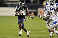4 December 2010:  FIU running back Darriet Perry (28) evades Middle Tennessee cornerback Rod Issac (6) while carrying the ball in the second quarter as the Middle Tennessee State University Blue Raiders defeated the FIU Golden Panthers, 28-27, at FIU Stadium in Miami, Florida.