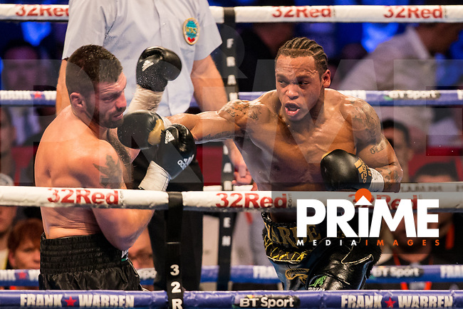 Anthony Yarde in action - THE WBO INTERCONTINENTAL LIGHT-HEAVYWEIGHT CHAMPIONSHIP 10 X 3 Minute Rounds ANTHONY YARDE 12st 5lb 8oz V NIKOLA SJEKLOCA 12st 6lbs 6oz during the Boys are back in town - Frank Warren Boxing event at the Copper Box Arena, London, England on 9 December 2017. Photo by Andy Rowland.