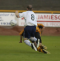 13/08/2002                   Copyright Pic : James Stewart.File Name : stewart-alloa v ross cty 05A.ALLOA'S BROWN FERGUSON (HIDDEN) HEADS THE BALL INTO HIS OWN NET AS COUNTY'S STEVEN FERGUSON PUTS ON THE PRESSURE....Payments to :-.James Stewart Photo Agency, 19 Carronlea Drive, Falkirk. FK2 8DN      Vat Reg No. 607 6932 25.Office     : +44 (0)1324 570906     .Mobile  : +44 (0)7721 416997.Fax         :  +44 (0)1324 570906.E-mail  :  jim@jspa.co.uk.If you require further information then contact Jim Stewart on any of the numbers above.........
