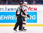 Stockholm 2014-10-14 Ishockey Hockeyallsvenskan AIK - Malm&ouml; Redhawks :  <br /> Malm&ouml; Redhawks Frederik Storm blir utvisad under matchen mellan AIK och Malm&ouml; Redhawks <br /> (Foto: Kenta J&ouml;nsson) Nyckelord:  AIK Gnaget Hockeyallsvenskan Allsvenskan Hovet Johanneshov Isstadion Malm&ouml; Redhawks utvisning utvisad utvisas depp besviken besvikelse sorg ledsen deppig nedst&auml;md uppgiven sad disappointment disappointed dejected diskutera argumentera diskussion argumentation argument discuss domare referee ref