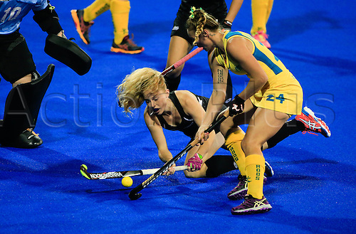 19.04.2015. Hastings, New Zealand.  New Zealand's Kathryn Henry chases a ball in a goal mouth scramble. New Zealand Black Sticks Women versus Australia, Final, Festival of Hockey, Unison Hockey Stadium, Hastings, New Zealand.