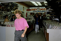 Glass Tiger meet fans in a downtown record store, June 13, 1986
